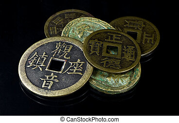 Chinese coins on black - Set of old Chinese coins on black...