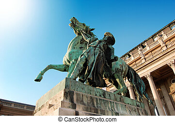 A horse and rider statue at Royal p