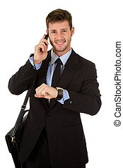 Young businessman talking - Young attractive businessman...