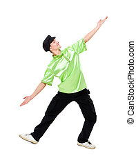 Happy young man dancing