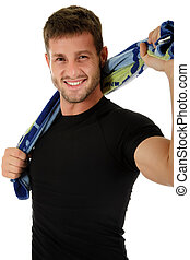 Young sporty caucasian man - Young caucasian sporty man with...