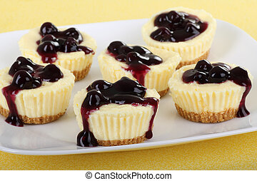 Cheesecake Cupcakes - Plate of cheesecake cupcakes topped...