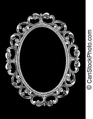 Silver frame - isolated silver frame on a black background.