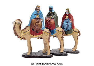nativity scene - figures representing the three kings in a...