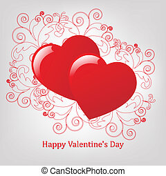 Valentines Day Card, 2 Hearts With Pattern, Vector...