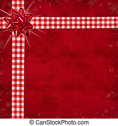 Christmas Package - Gingham ribbon and bow on textured red...