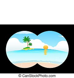 sea beach in binocular view - illustration of sea beach in...
