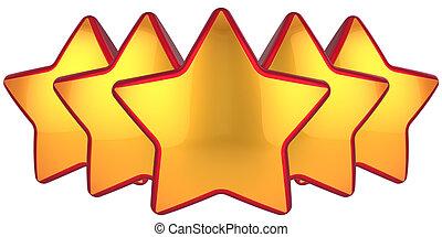 Golden stars. The best choice - Five Golden stars. Modern...