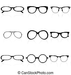 different eye wears - illustration of different eye wears on...