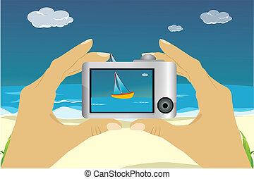 beach scene in camera