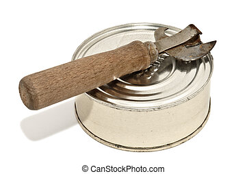 Can and rusty opener, isolated on white background - Closeup...