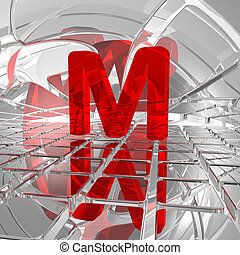 m in futuristic space - red uppercase letter m in futuristic...