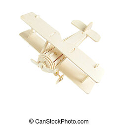 wooden model plane on a white background