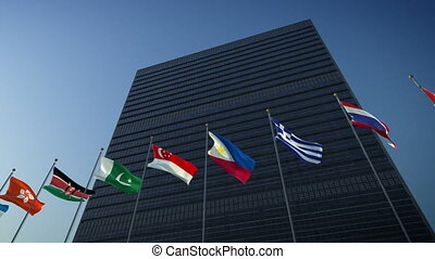 United Nations - 1080p stock video the Nations flags against...