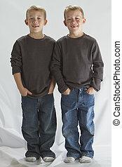 6, anos, antigas, idêntico, gêmeos