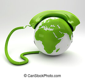 A global teleommunications concept - green phoneand planet