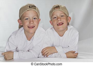 6, anos, pld, idêntico, gêmeos, deitando,...