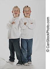 6, anos, antigas, meninos, idêntico, gêmeos,...