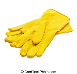 Yellow gloves - Yellow dish gloves isolated on white...