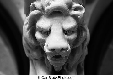 Lion head - Monochrome fine art photo of an old marble...