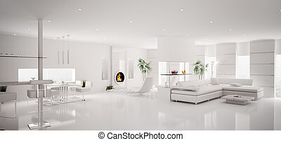 Interior of modern white apartment panorama 3d render -...