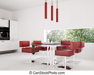 Interior of dining room 3d render - Interior of dining room...