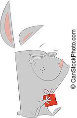 Happy Rabbit with Gift