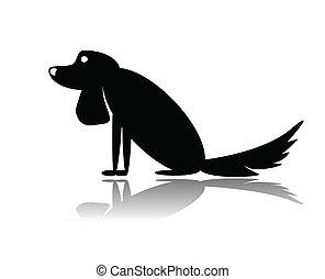 sad dog - vector iilustration sad dog sitting on white