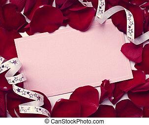 amor, rosa, saludo, nota, Pétalos, navidad, tarjeta,...