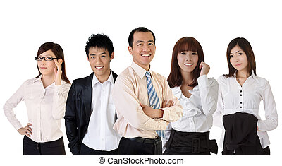 business team - Mature successful business man with his...