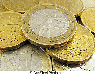 coins - heap of euro coins: one euro with Vitruvian man...