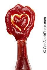 Coração, Amor, alimento, FORMA, mancha,  ketchup