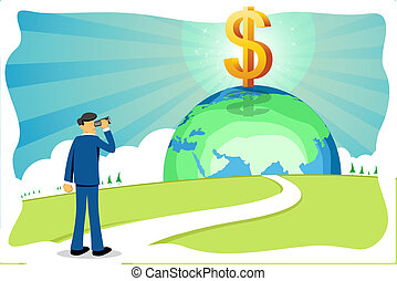 businessman with dollar and globe