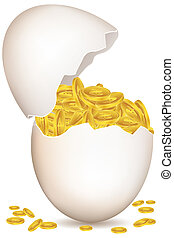 dollar coins in egg