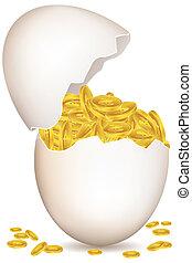 dollar coins in egg