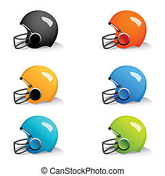 colorful helmets - illustration of colorful helmets on white...