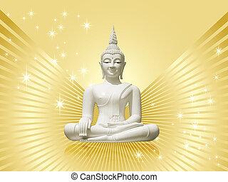 Buddha, isolated - golden backdrop