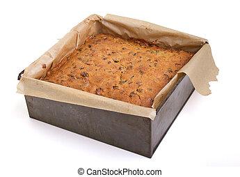 fruit cake - Square christmas fruit cake in baking tin just...