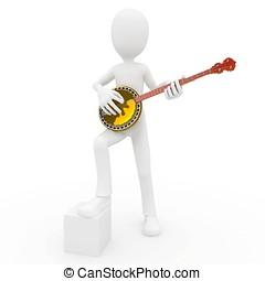 3D, hombre, banjo