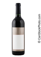 red wine bottle - full red wine bottle with blank label