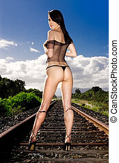 Outdoor glamour - Glamour model in lingerie with blue sky in...