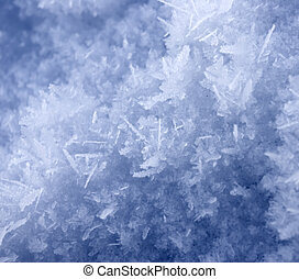 Frost - Greater crystals of an ice. Long needles under the...