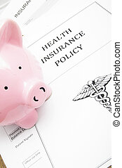 healthcare insurance and piggy bank