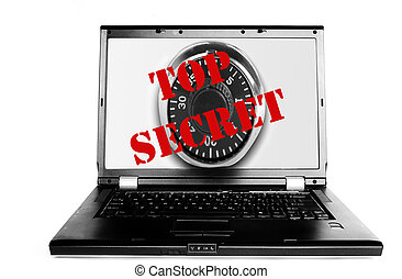 Laptop with Top Secret text