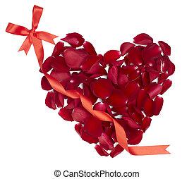 heart shape rose petals flower love valentine day - rose...