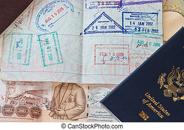 International Travel - A shot of a US passport on a bed of...