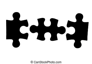 three different black puzzle pieces over white background