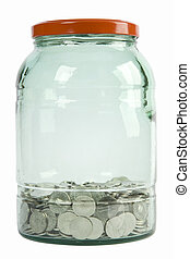 glass jar filled with coins