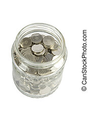 glass jar with silver coins
