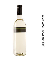 white wine bottle with blank label - full white wine bottle...